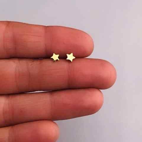 Aros bañados en oro 22k de 4mm Estrella LBO11466