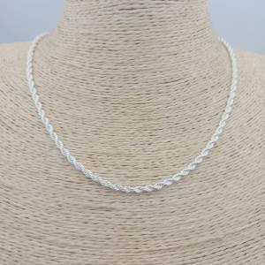 Collar bañado en plata de 45cm con 5cm alargue de largo Cadena espiral LBO30890