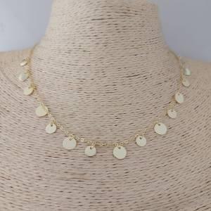 Collar bañado en oro de 41cm Cadena Moneditas con alargue de 3cm LBO30964
