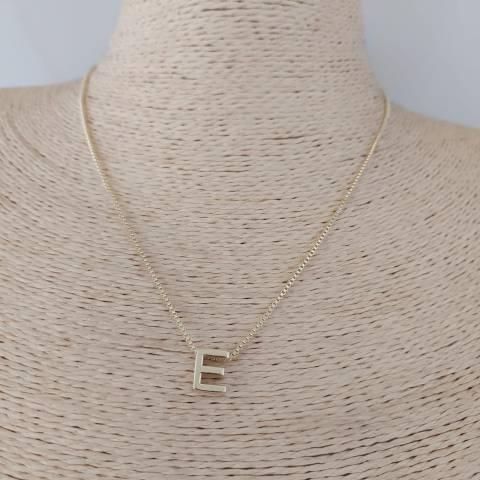 Collar bañado en oro de 43cm Cadena Veneciana Letra E con alargue de 3cm LBO30994