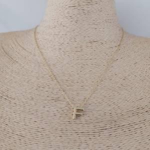 Collar bañado en oro de 47cm Cadena Letra F con alargue de 5cm LBO30997