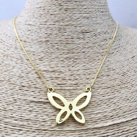 Collar bañado en oro 22k de 48cm Alargue 10cm Cadena Veneciana Mariposa LBO31135