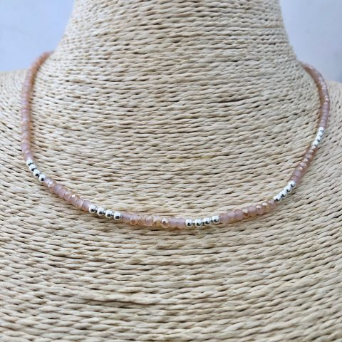Collar bañado en plata de 40cm Alargue 3cm Cristal 2mm Rosado Bolita 2.3mm LBO31144