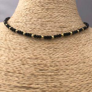 Collar bañado en oro 22k de 38cm Alargue de 3cm Cristal 3mm Negro Bolitas 2.3mm LBO31157
