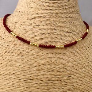 Collar bañado en oro 22k de 40cm Alargue de 3cm Cristal 2mm Rojo Oscuro Bolitas 2.3mm LBO31167