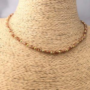 Collar bañado en oro 22k de 38cm  Alargue de 3cm Cristal 2mm Naranjo Vetado Bolita 2.3mm LBO31183