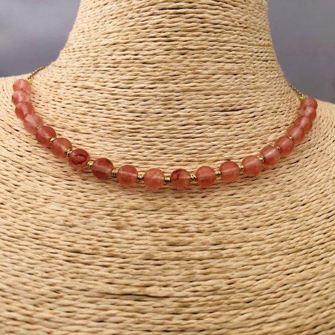 Collar bañado en oro 22k de 42cm Alargue de 3cm Piedra 6.5mm Color Cuarzo Rosa Mostacilla Argolla 2mm LBO31189