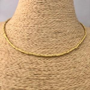 Collar bañado en oro 22k Alargue 3cm Mostacilla Tubo Lijada 4x2mm LBO31197