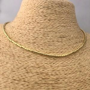 Collar bañado en plata Alargue 3cm Mostacilla Tubo Lisa 2x2mm LBO31200