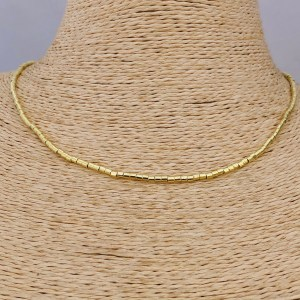 Collar bañado en oro 22k de 40cm Alargue 3cm Mostacilla Tubo Lisa 2x2mm LBO31206