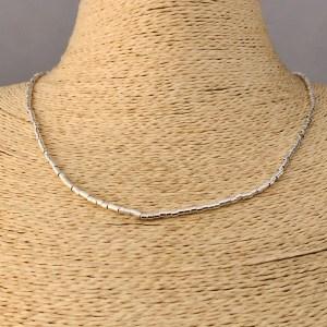 Collar bañado en plata de 45cm Alargue 3cm Mostacilla Tubo Lisa 2x2mm LBO31209