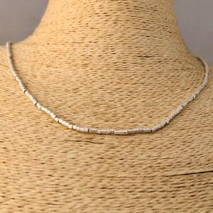 Collar bañado en plata de 45cm Alargue 3cm Mostacilla Tubo Lijada 2x2mm LBO31217