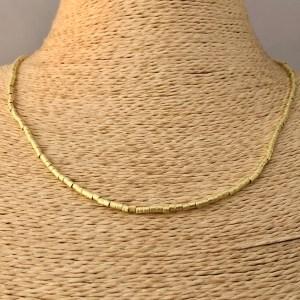 Collar bañado en oro 22k de 45cm Alargue 3cm Mostacilla Tubo Lijada 2x2mm LBO31218