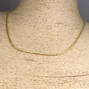 Collar bañado en oro 22k de 42cm Alargue 3cm Mostacilla Tubo Lijada 1.75x2mm LBO31226