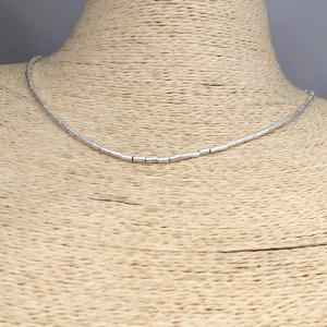 Collar bañado en plata de 42cm Alargue 3cm Mostacilla Tubo Lijada 2x4mm LBO31243
