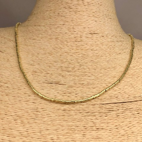 Collar bañado en oro 22k de 50cm Alargue 3cm Mostacilla Tubo Lisa 1.75x1mm LBO31254