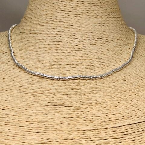 Collar bañado en plata de 42cm Alargue 3cm Mostacilla Tubo Lisa 2.5x1mm LBO31257