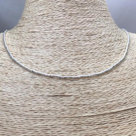 Collar bañado en plata de 40cm Alargue 3cm Mostacilla Tubo Lisa 1.75x2 LBO31263