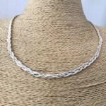 Collar bañado en plata de 46cm Alargue 3cm Cadena Trenzada LBO31271