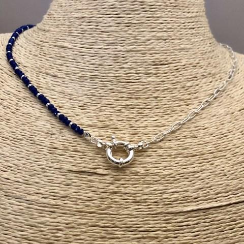 Collar bañado en plata de 43cm Cadena Clip Cristal 3mm Azul Mostacilla Argolla 2mm Broche Timón LBO31299