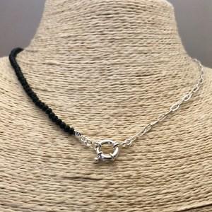 Collar bañado en plata de 43cm Cadena Clip Cristal 3.5mm Negro Broche Timón LBO31307