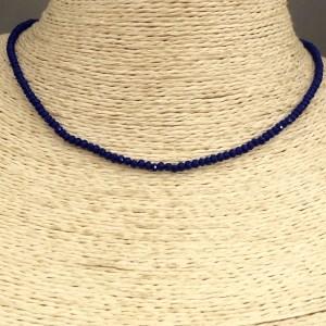 Collar bañado en oro 22k de 38cm Alargue 5cm Cristal 2mm Azul LBO31356