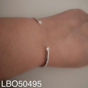 Esclava bañado en plata Circón cuadrado LBO50495