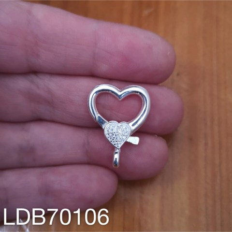 Broche bañado en plata de 0mm Mosquetón Corazón Piedras LDB70106