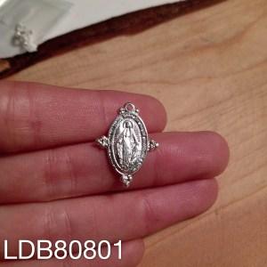 Dije bañado en plata de 22mm Virgen de los Rayos Bolitas LDB80801