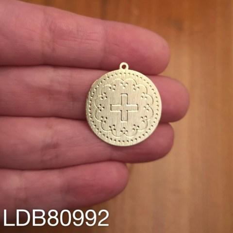Dije bañado en oro de 23mm Medalla Cruz 1 dije LDB80992