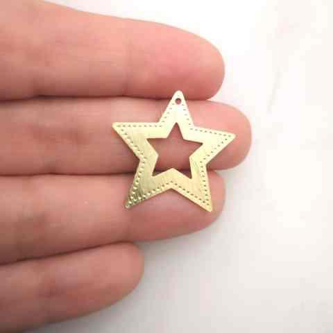 Dije bañado en oro de 24mm Estrella LDB81617