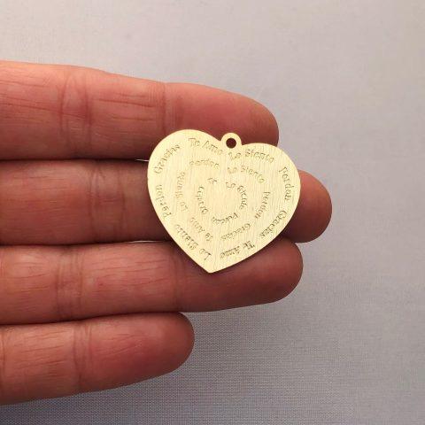 Dije bañado en oro 22k de 27mm Corazón Ho'oponopono LDB81957