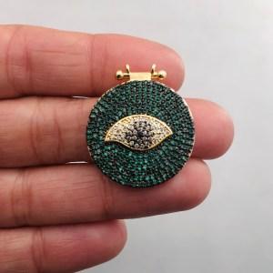 Dije bañado en oro 18k de 26mm Medalla Ojo Circones Verde LDB82001