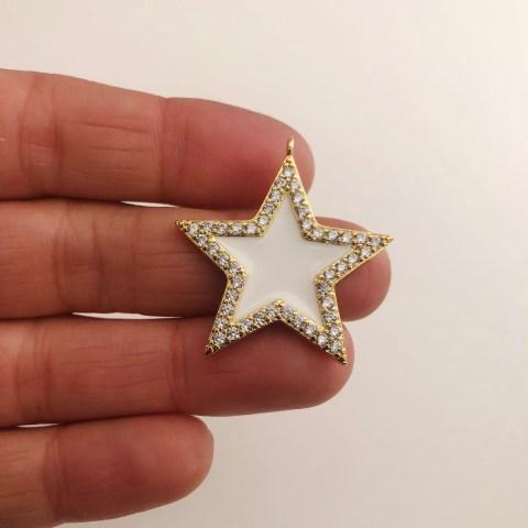 Dije bañado en oro 18k de 33mm Estrella Circones Esmalte Blanco LDB82034