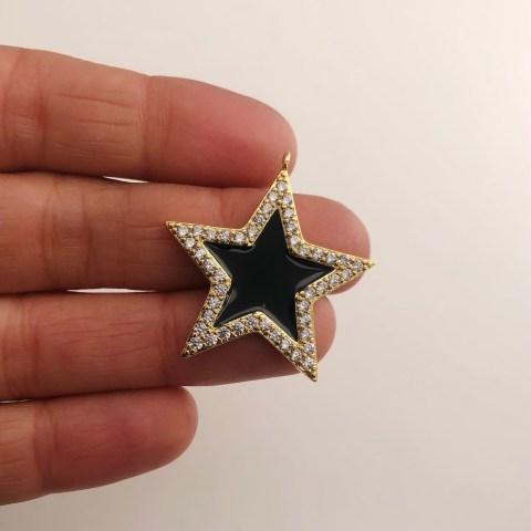 Dije bañado en oro 18k de 33mm Estrella Circones Esmalte Negro LDB82036