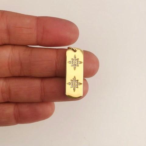 Dije bañado en oro 18k de 25mm Placa Estrella Fugaz Circones LDB82050