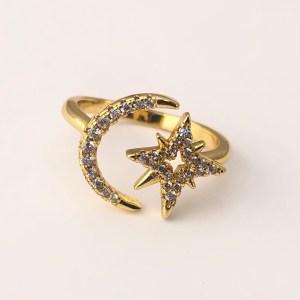 Anillo bañado en oro 18k Ajustable Luna Estrella Fugaz Circones LBO20126