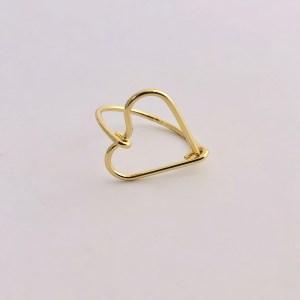 Anillo bañado en oro 18k Tamaño 7 Corazón LBO20276