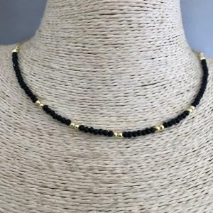 Collar bañado en oro de 43cm Cadena Fina Cristal 2mm Negro Bolta 2.3mm LBO31386