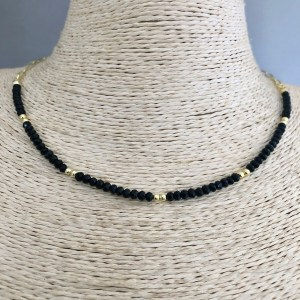 Collar bañado en oro de 43cm Cadena Clip Cristal 3mm Negro Bolita 2.3mm LBO31388