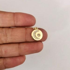 Dije bañado en oro 18k de 12mm Medalla Luna Estrella LDB82257
