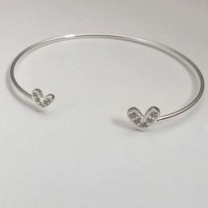 Pulsera bañada en plata Esclava Corazón Cristales LBO51017