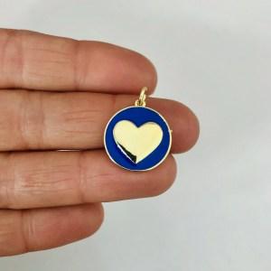 Dije bañado en oro 18k de 17mm Medalla Corazón Esmalte Azul LDB82475