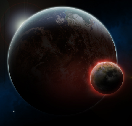 A new lunar model shows tidal heating as a red hot moon approaching the earth