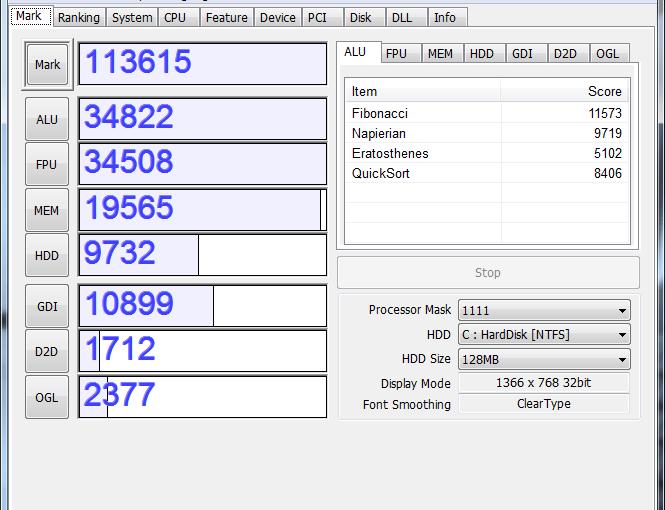 Acer AS3820T-F52C Aspire TimelineX ベンチマーク