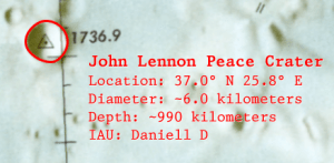 John Lennon Peace Crater on the Moon (Detail Map)