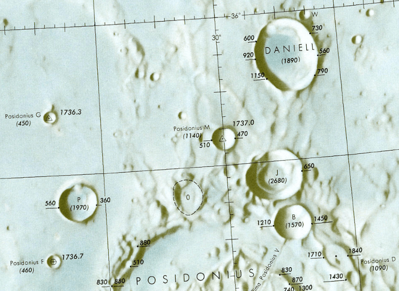 Crater Posidonius Map Section (Moon Property)