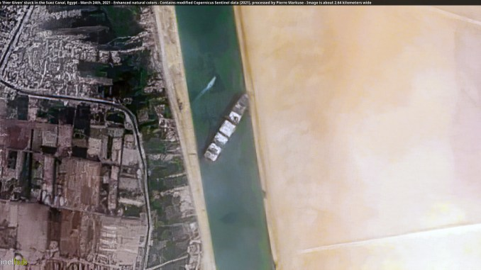 Satellite photo of ship stuck in Suez Canal