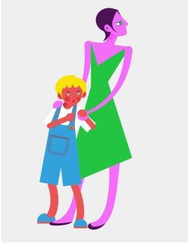 Aditi Raychoudhury. Blue Boy with Mamma. 2013. Adobe Illustrator.