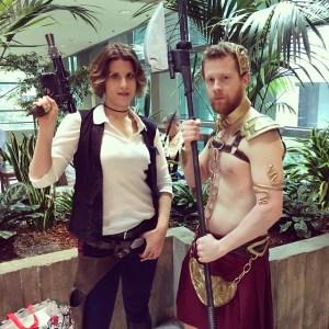 Genderbent Han Solo and Princess Leia at Emerald City Comic Con. cccakery.tumblr.com
